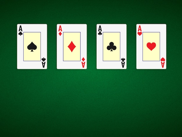Poker table background in green color with four aces.