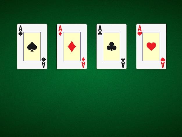 ポーカーテーブルの背景に4つのエースのある緑色。