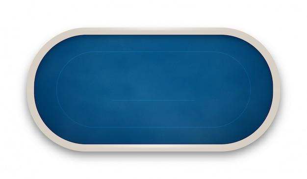 白い背景で隔離の青い布で作られたポーカーテーブル。