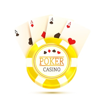 Poker table with the cards and chips on a white background. vector illustration
