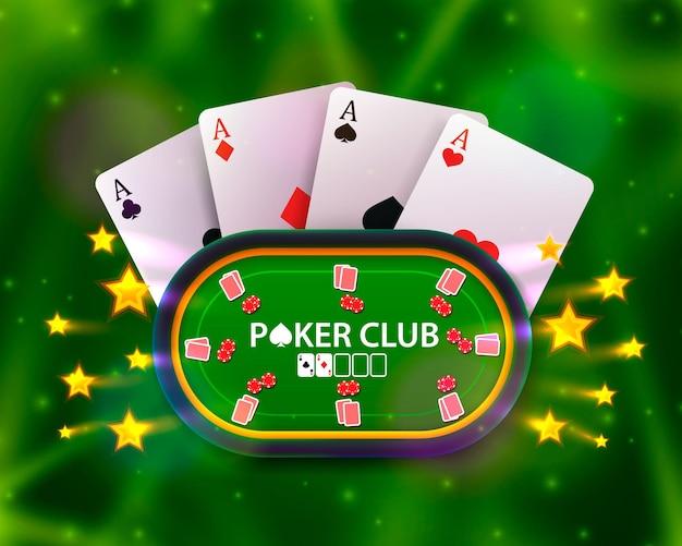 Покерный стол с картами и фишками на зеленом фоне. векторная иллюстрация