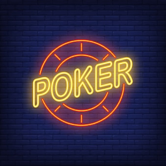 Poker text and casino chip. Neon icon on brick background.