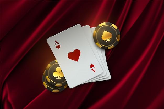 ポーカートーナメント。図。ベルベット生地の背景にチップを賭けると4つのトランプ。カジノバナー