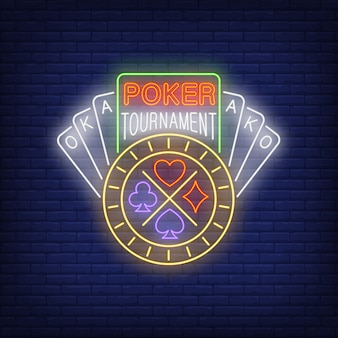 Poker tournament neon text with playing cards and chip
