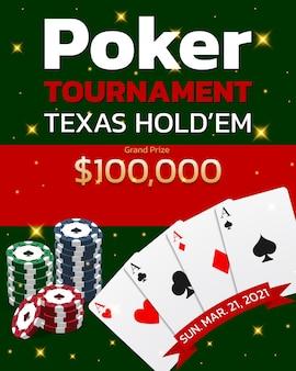 ポーカートーナメントテキサスホールデムバナー。カジノチップを備えた4つのエース。ベクトルイラスト