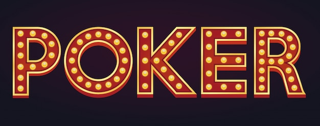 Poker word sign marquee light bulb vintage