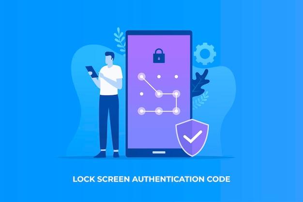 Pola lock screen illustration concept for websites landing pages