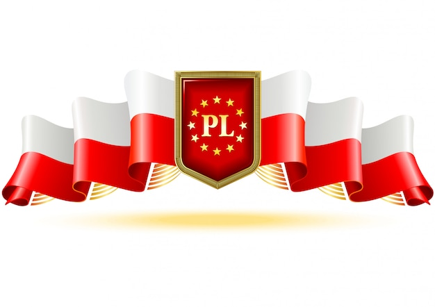Poland decorative label with national colors.