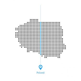 Польша привязана к карте desgin vector