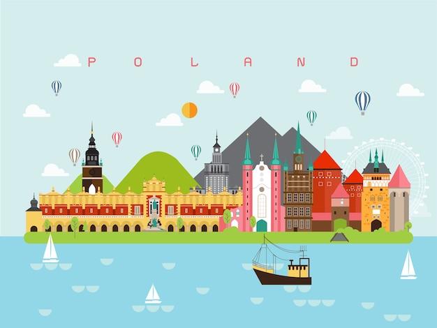 폴란드 유명한 랜드 마크 infographic