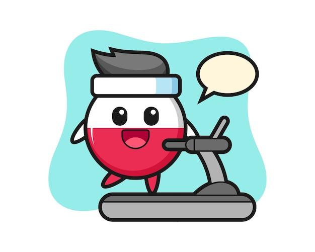 Poland flag badge cartoon character walking on the treadmill