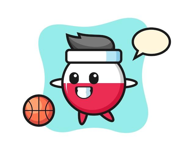 ポーランドの旗バッジ漫画はバスケットボールをしています