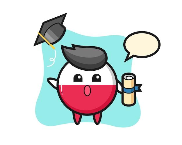 卒業時に帽子を投げるポーランドの旗バッジ漫画