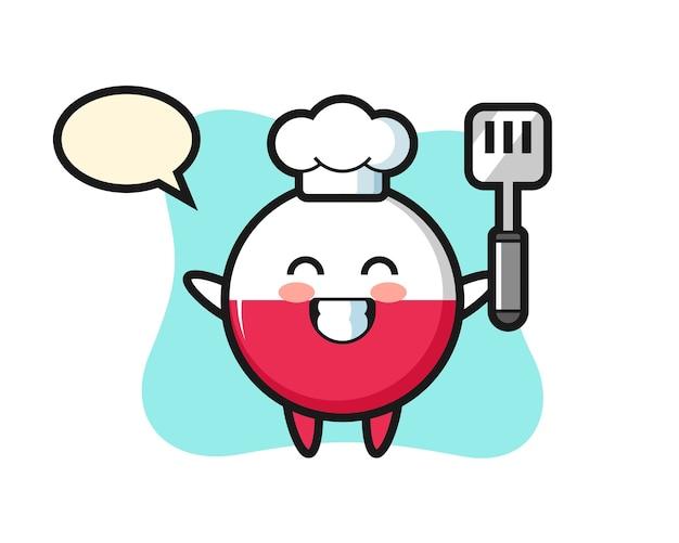 シェフが料理しているポーランドの旗バッジキャラクター
