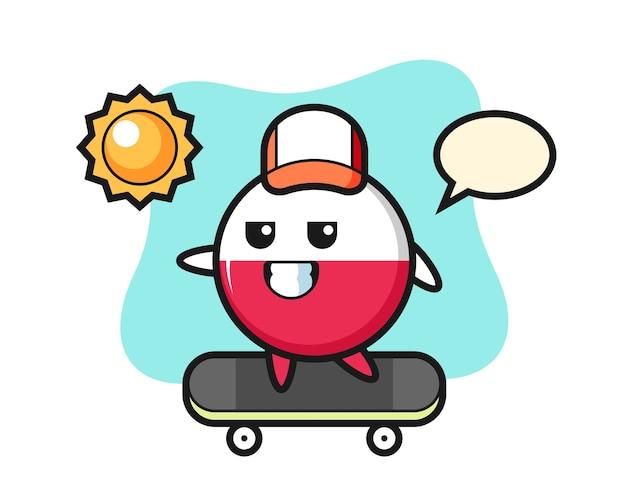 ポーランドの旗バッジのキャラクターがスケートボードに乗る