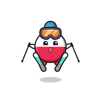Значок талисмана флага польши как лыжник, милый стиль дизайна для футболки, наклейки, элемента логотипа