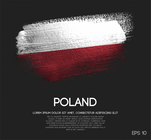 Poland flag made of glitter sparkle brush paint