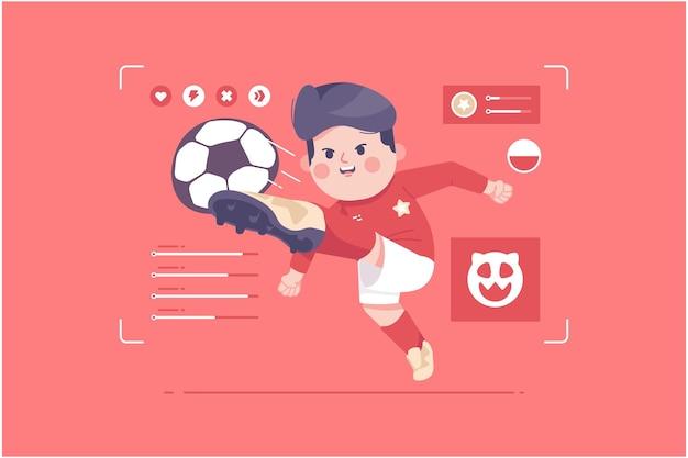 ポーランドのサッカー選手のかわいいキャラクターデザイン