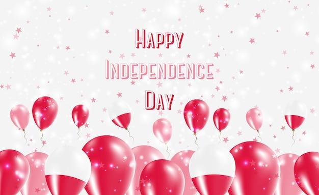 Патриотический дизайн дня независимости польши. воздушные шары в польских национальных цветах. поздравительная открытка вектора дня независимости сша.
