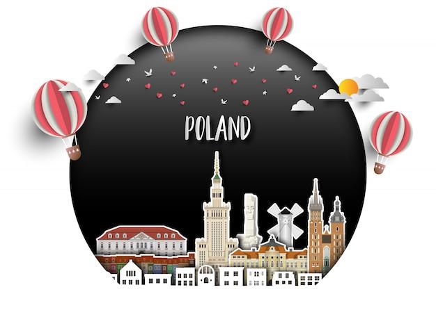 폴란드 랜드 마크 글로벌 여행 및 여행 종이 배경.