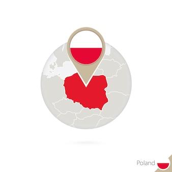 폴란드 지도 및 원 안에 플래그입니다. 폴란드의 지도, 폴란드 플래그 핀입니다. 세계 스타일의 폴란드 지도입니다. 벡터 일러스트 레이 션.