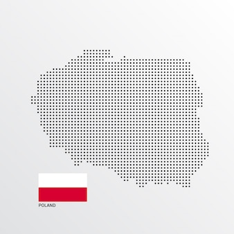 Poland map design with flag and light background vector