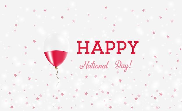 Национальный день польши патриотический плакат. летающий резиновый шар в цветах польского флага. национальный день польши фон с воздушным шаром, конфетти, звездами, боке и блестками.