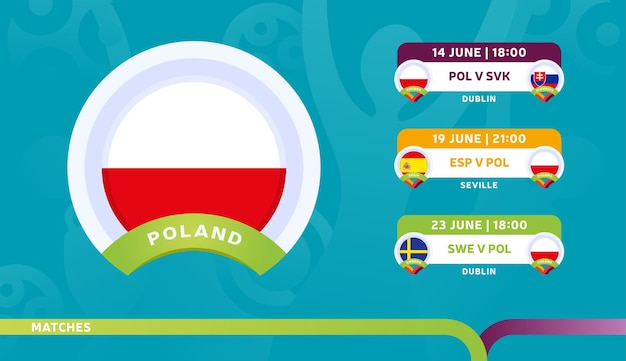 Poland national team schedule matches in the final stage at the 2020 football championship.   illustration of football 2020 matches.