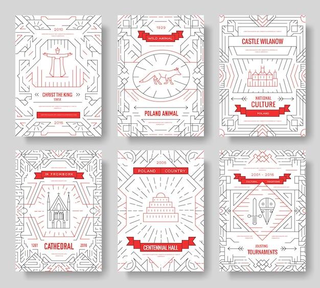Набор карт брошюры польша тонкая линия. шаблон архитектуры flyear, журналы, плакаты, книги
