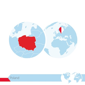 Poland on world globe with flag and regional map of poland. vector illustration.