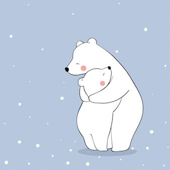 シロクマと赤ちゃんは雪の中で愛をこめて抱擁します。