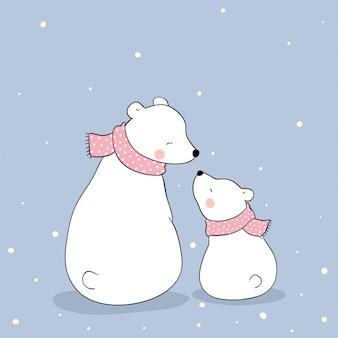 シロクマと雪の中で座っている赤ちゃん。