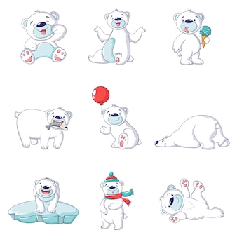Polar bear baby white icons set