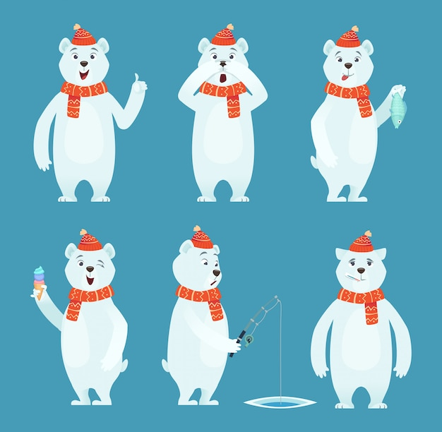 Polar bear cartoon. ice snow white funny wild animal in different poses characters