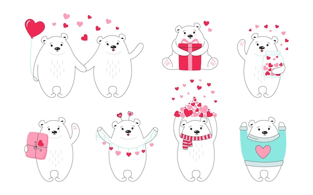 Polar bear cartoon set. hand drawn doodle funny animal character with hearts, balloon, gift and parcel