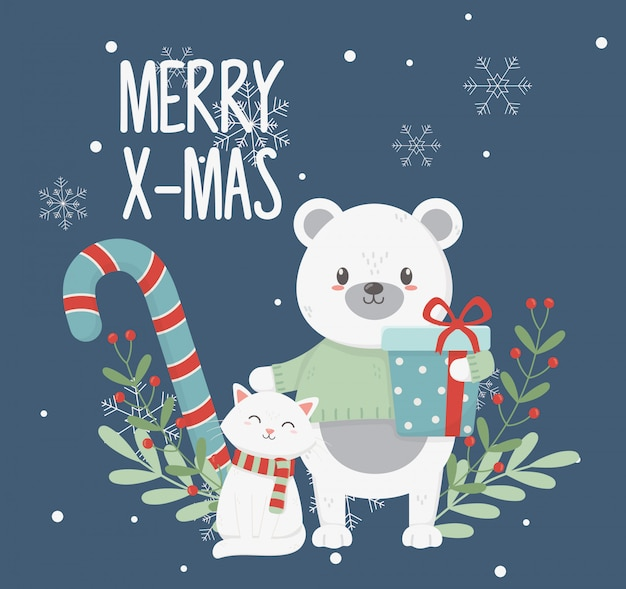 Polar bear cat with gift box leaves merry christmas card