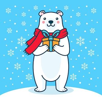 Polar bear christmas illustration