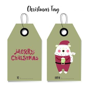 Polar bear christmas tag card
