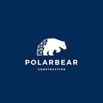 Polar bear construction logo vector icon illustration