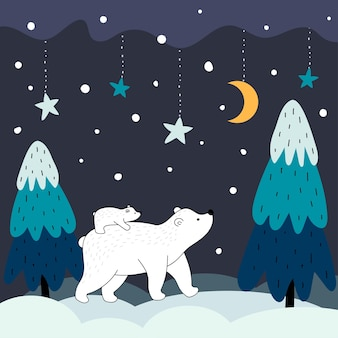 A polar bear cub rides on her mother's back. polar bear with a little bear cub in the winter night forest. christmas, new years and mothers day postcard in cartoon style.