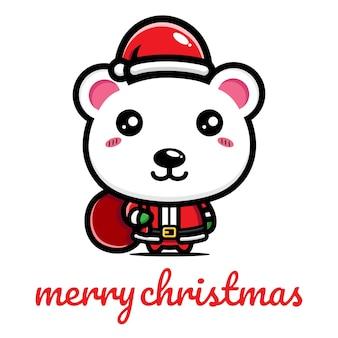 북극곰 귀여운 축하 크리스마스