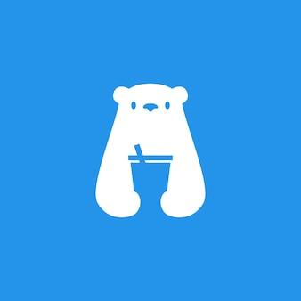 Polar bear drink cup logo vector icon illustration