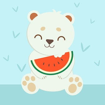 Polar bear eating water melon