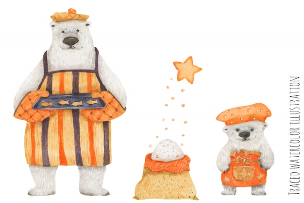Polar bear father and son baking fish cookies