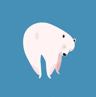 북극곰 평면 벡터 일러스트 레이 션. 거대한 북극 동물의 뒷모습. 귀여운 만화 흰색 모피 새끼 파란색 배경에 고립입니다. 멸종 위기에 처한 야생 동물. 추운 기후 동물군 대표.
