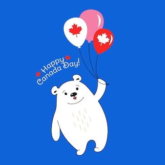 Polar bear flying air balloon, happy canada day cartoon card national celebration