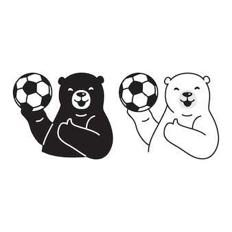 Polar bear football soccer cartoon