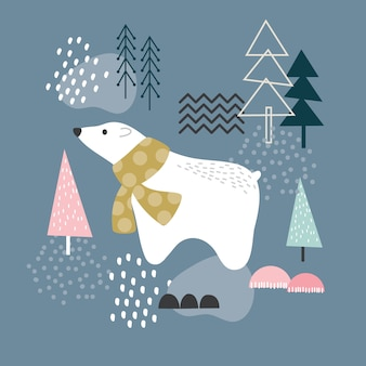Polar bear and forest elements