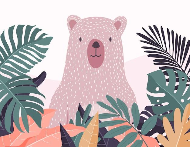 Polar bear in forest pattern.  illustration.