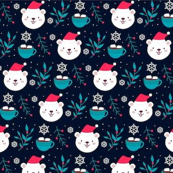 Забавный рождественский образец белого медведя